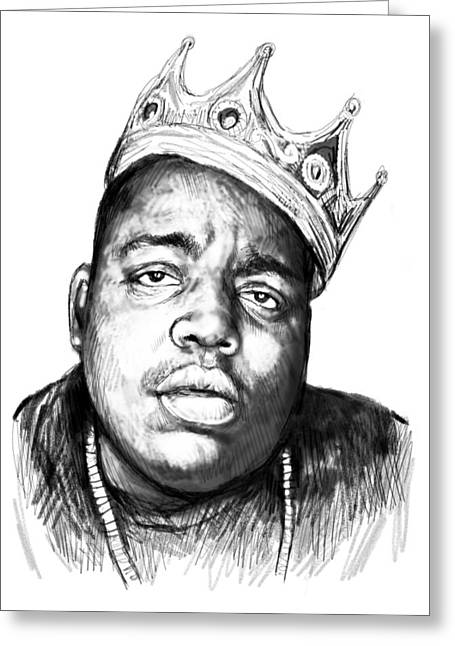 Biggie Smalls Art Drawing Sketch Portrait - 1 Greeting Card