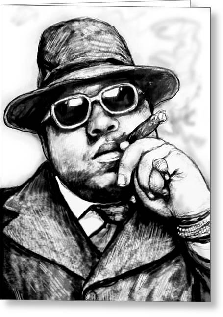 Biggie Smalls Art Drawing Sketch Portrait - 2 Greeting Card