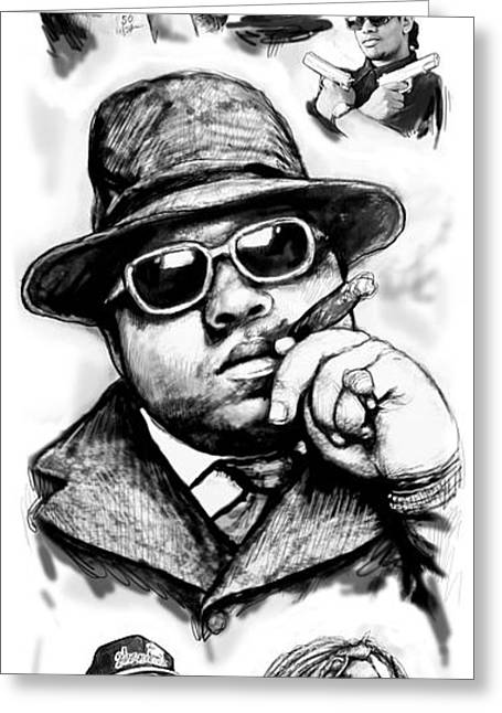 Biggie Smalls Blackwhite Drawing Art Poster Greeting Card by Kim Wang