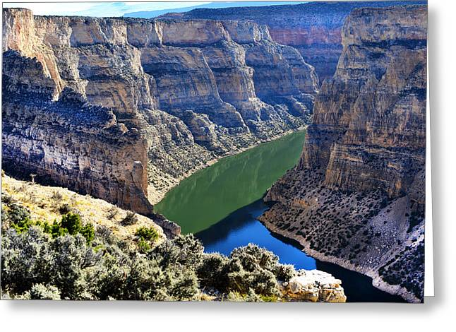 Bighorn River And Canyon Greeting Card by Jeffrey Hamilton