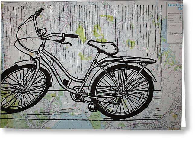 Bike 5 On Map Greeting Card by William Cauthern