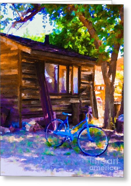 Bike At Hillside Cabin Greeting Card