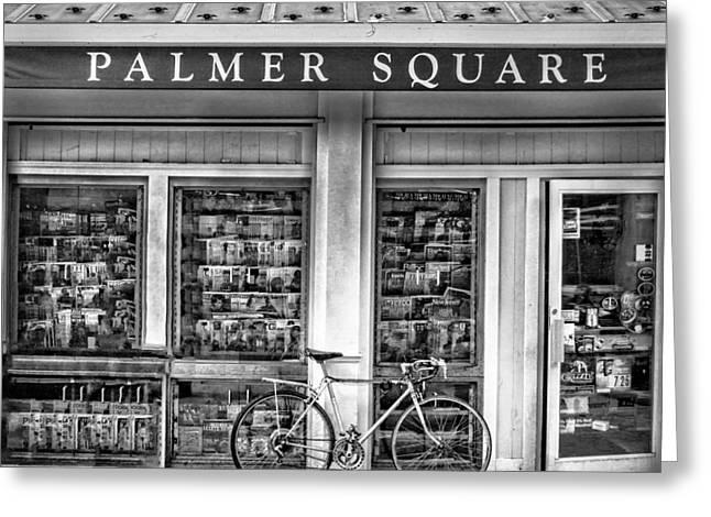Bike At Palmer Square Book Store In Princeton Greeting Card