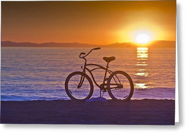 Bike At Sunset In Newport Beach Greeting Card by Harald Vaagan