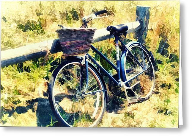 Bike At The Beach - Nantucket Greeting Card by Tammy Wetzel