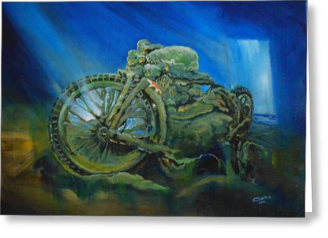 Bike In A Different Dimension Greeting Card by Ottilia Zakany