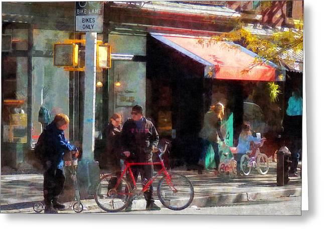 Bike Lane Greeting Card by Susan Savad