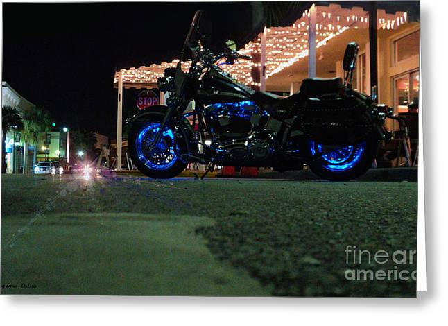 Greeting Card featuring the photograph Bike Night In Blue Light by Megan Dirsa-DuBois