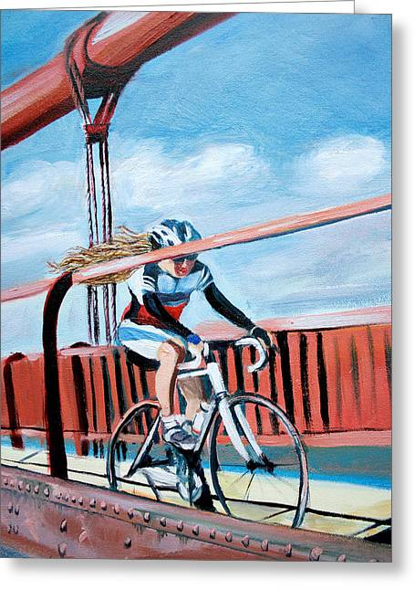 Bike On The Golden Gate Bridge Greeting Card by Colleen Proppe