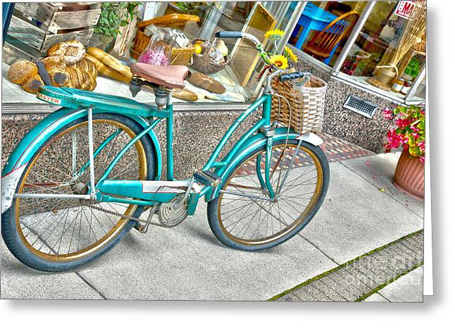 Bike Ride To The Bake House Greeting Card by John Debar
