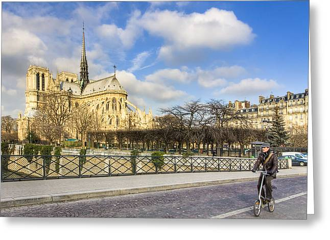 Bike Road Over The Seine - Notre Dame De Paris Greeting Card by Mark E Tisdale