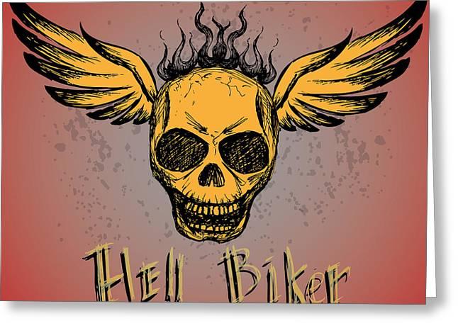 Biker Emblem, Logo Or Tattoo, Hand Greeting Card by Naum