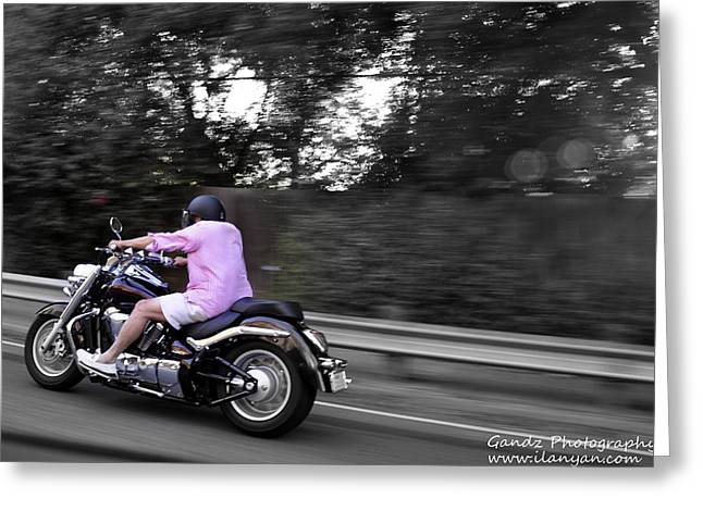 Biker Greeting Card by Gandz Photography