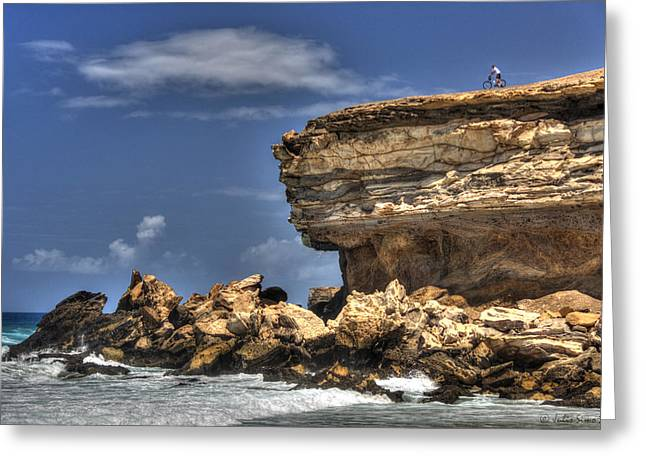 Greeting Card featuring the photograph Biker On The Rocky Cliff At La Pared by Julis Simo