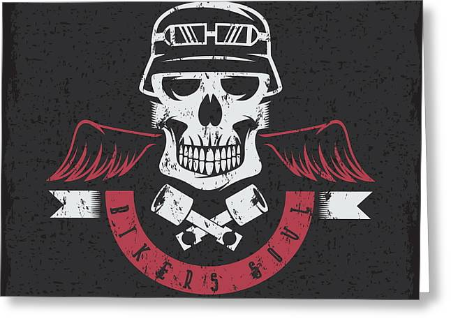 Biker Theme Grunge Label With Pistons Greeting Card