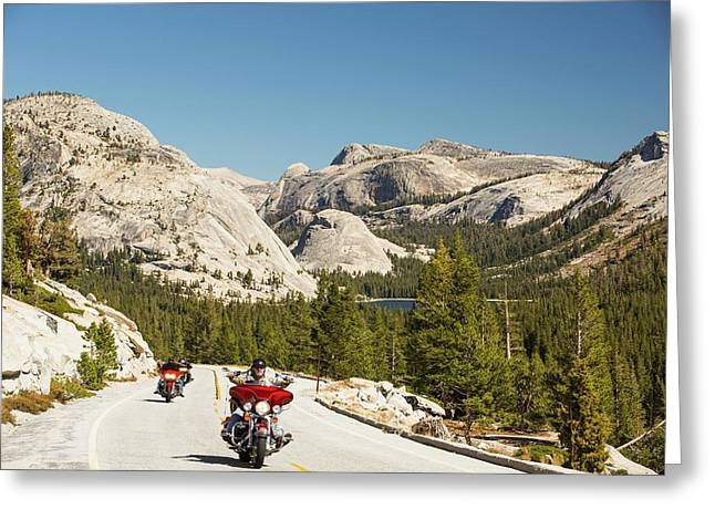 Bikers On The Road From Lee Vining Greeting Card by Ashley Cooper