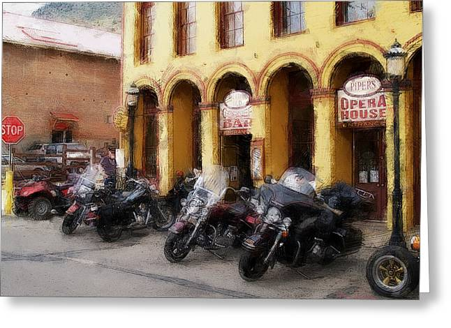 Bikers Outside Corner Bar Greeting Card
