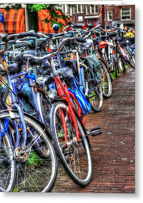 Bikes In Amsterdam Greeting Card by Sophie Vigneault