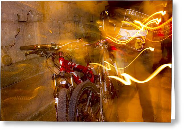 Bikes In San Miguel Greeting Card by Cathy Anderson