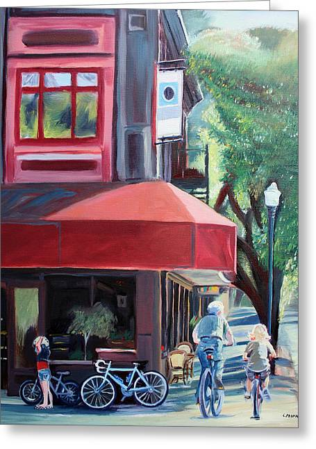 Bikes In Town Greeting Card by Colleen Proppe
