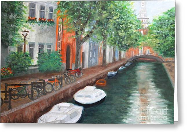 Biking Along The Canal Greeting Card