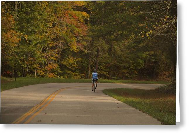 Biking In The Smoky Mountains Greeting Card by Dan Sproul