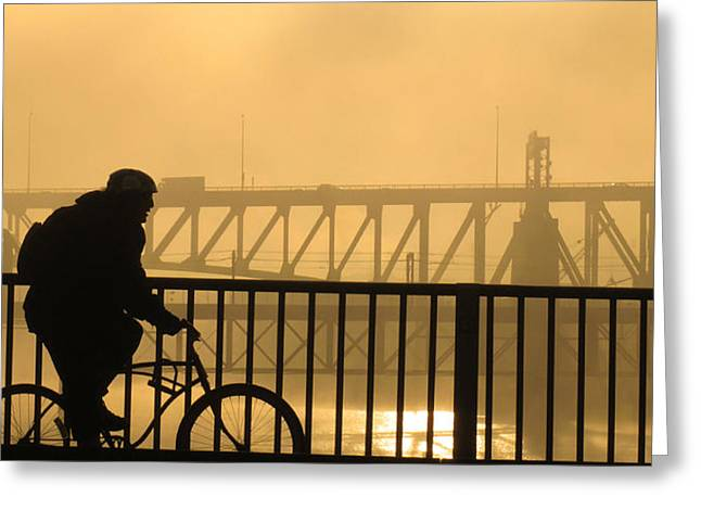 Greeting Card featuring the photograph Biking The Bridges by Joe Winkler
