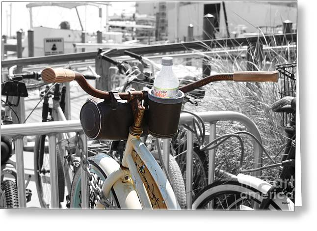 Biking With Panama Jack  Greeting Card