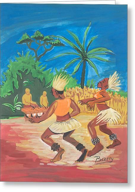 Greeting Card featuring the painting Bikutsi Dance 2 From Cameroon by Emmanuel Baliyanga
