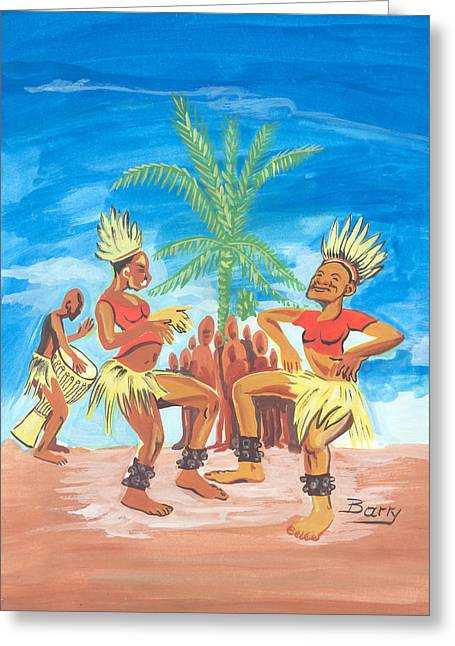Greeting Card featuring the painting Bikutsi Dance 3 From Cameroon by Emmanuel Baliyanga