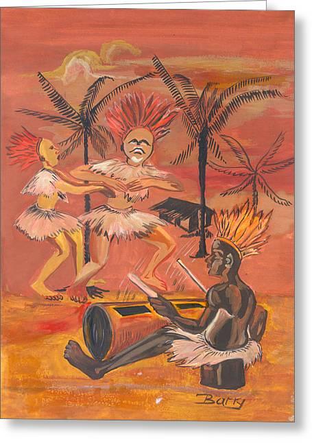 Bikutsi Dance From Cameroon Greeting Card by Emmanuel Baliyanga