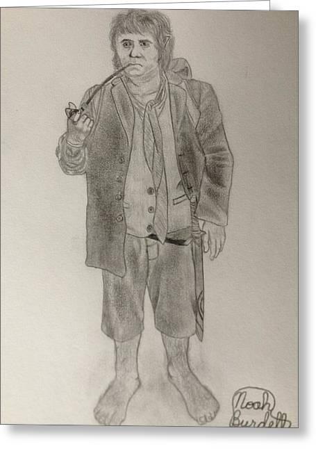 Bilbo Baggins Greeting Card by Noah Burdett