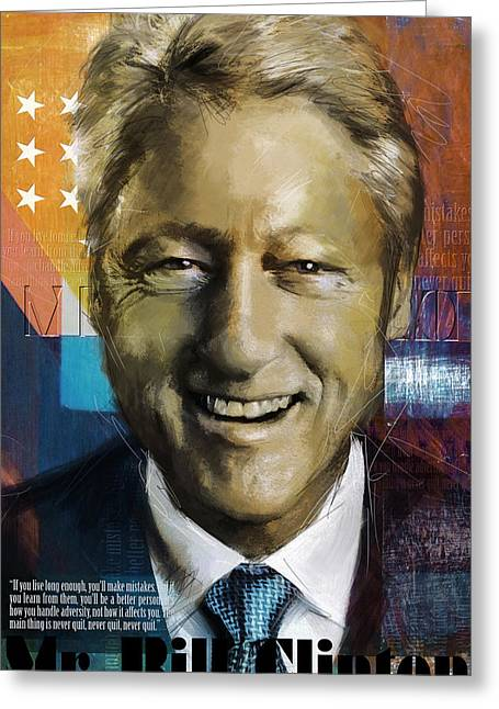 Bill Clinton Greeting Card by Corporate Art Task Force