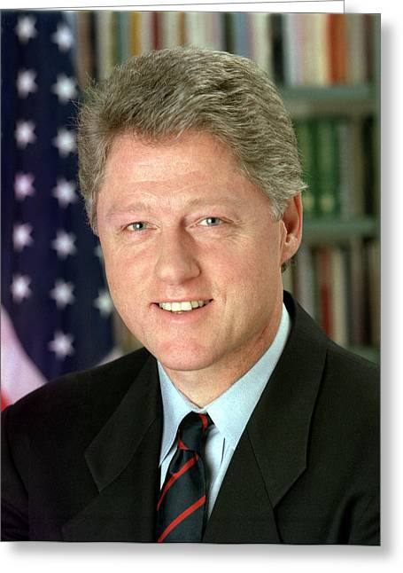Bill Clinton Greeting Card by Georgia Fowler