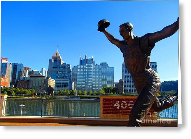 Bill Mazeroski Statue Celebrates Pittsburgh Greeting Card by Matthew Peek