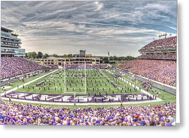 Bill Snyder Family Stadium Panorama Greeting Card by Corey Cassaw