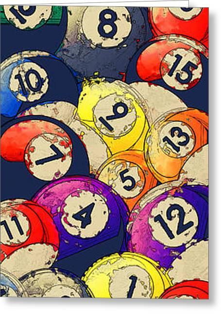 Billiard Balls Abstract Collage Greeting Card by David G Paul