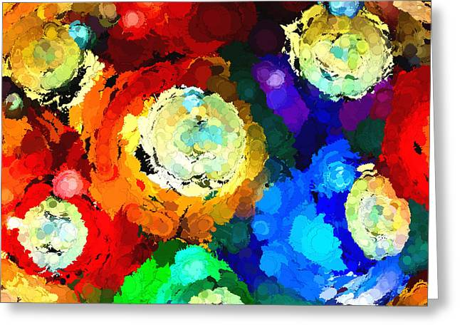 Billiard Balls Abstract Digital Art Greeting Card by Vizual Studio