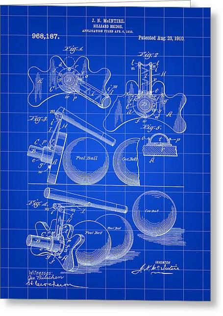 Billiard Bridge Patent 1910 - Blue Greeting Card by Stephen Younts