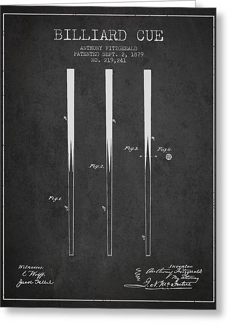 Billiard Cue Patent From 1879 - Charcoal Greeting Card