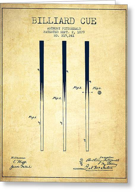 Billiard Cue Patent From 1879 - Vintage Greeting Card by Aged Pixel