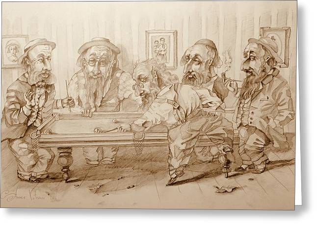 Billiard Players Greeting Card by Andrey Vutyanov