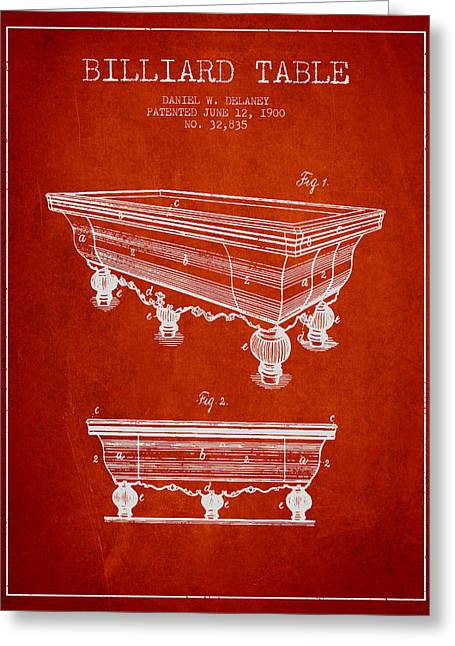 Billiard Table Patent From 1900 - Red Greeting Card