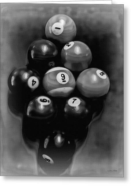 Billiards Art - Your Break - Bw  Greeting Card by Lesa Fine