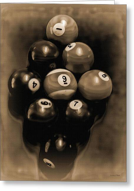 Billiards Art - Your Break - Bw Opal Greeting Card