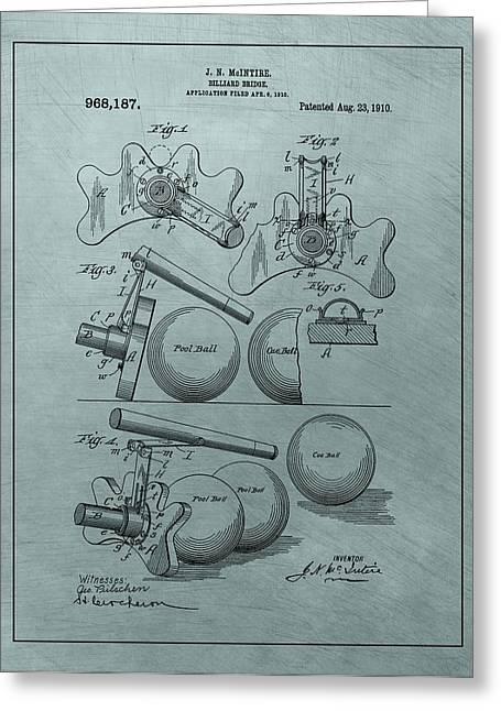 Billiards Bridge Patent Greeting Card by Dan Sproul