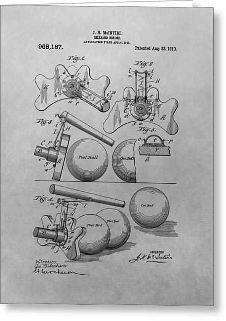 Billiards Bridge Patent Drawing Greeting Card by Dan Sproul