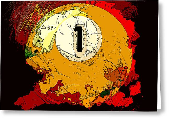 Billiards One Ball Red Abstract Greeting Card by David G Paul