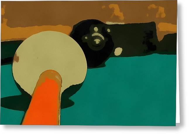 Billiards Pop Art Greeting Card by Dan Sproul