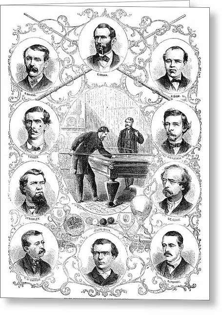 Billiards Tournament, 1866 Greeting Card